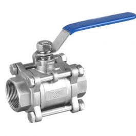Three piece female threaded ball valve